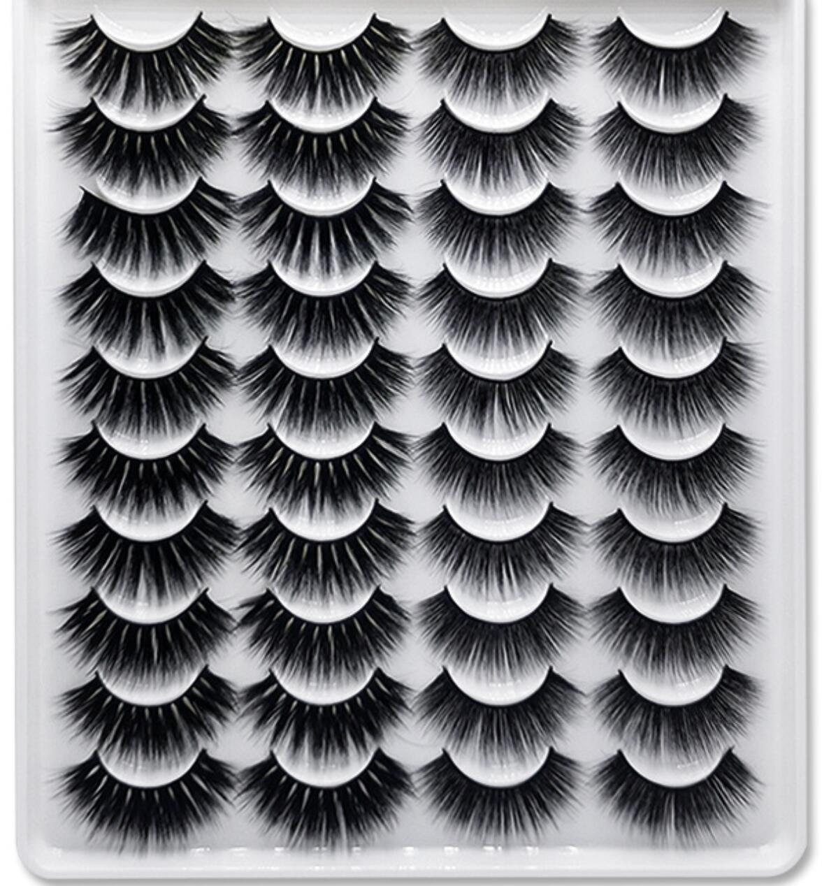 20 أزواج / مجموعة 3D المنك جلدة الرموش الصناعية ماكياج الطبيعية رمش تمديد طويل الصليب حجم لينة وهمية العين الرموش