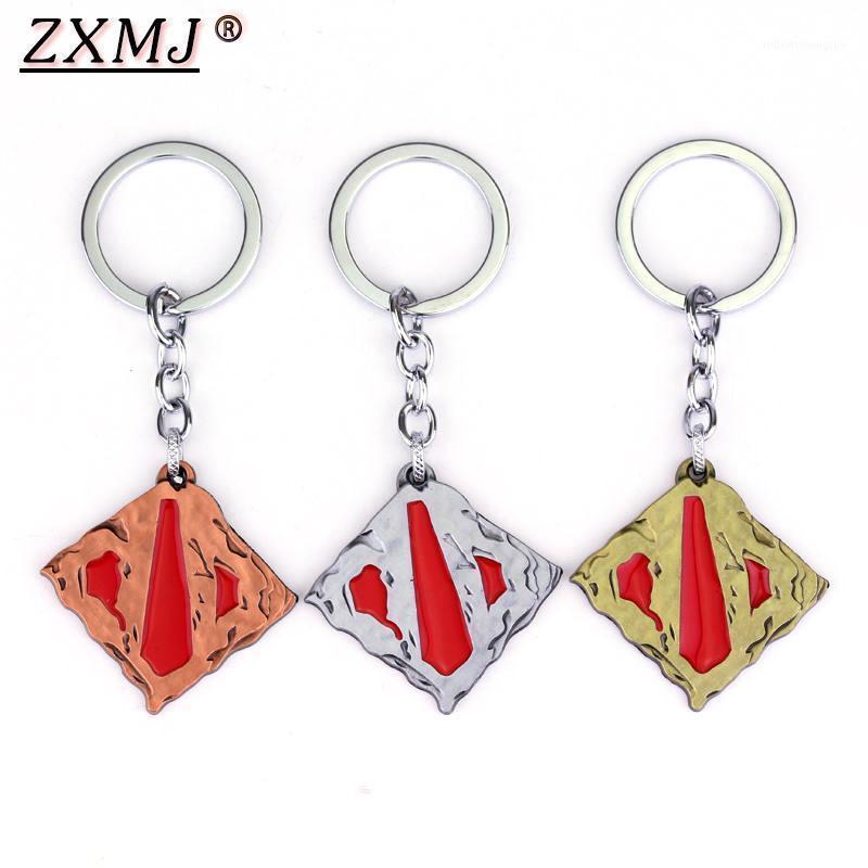 Zxmj dota 2 Keychain Online Game Union Abzeichen Logo dota2 Klassische quadratische Anhänger Keyring 3 Farben Geschenk Keychains Schmuck für Fan1