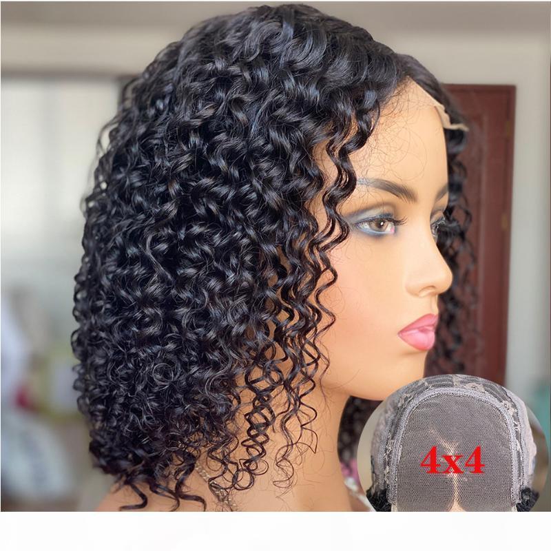 """4x4 encaje cierre peluca Malasia rizado peluca humana pelucas Remy 12 """"Short Bob Wig Wig Frente de encaje Pelucas de cabello humano para mujeres 130 densidad"""