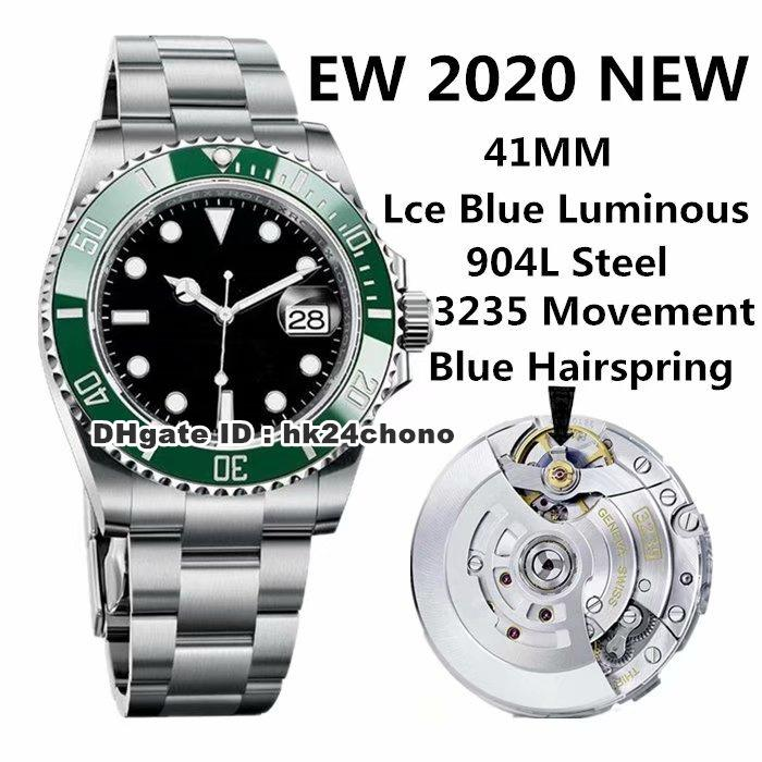 2020 EWF 904L Acero 41mm Fecha Automático Reloj para hombre Verde Cerámica Bisel Black Dial 904L Pulsera de acero Gents Relojes