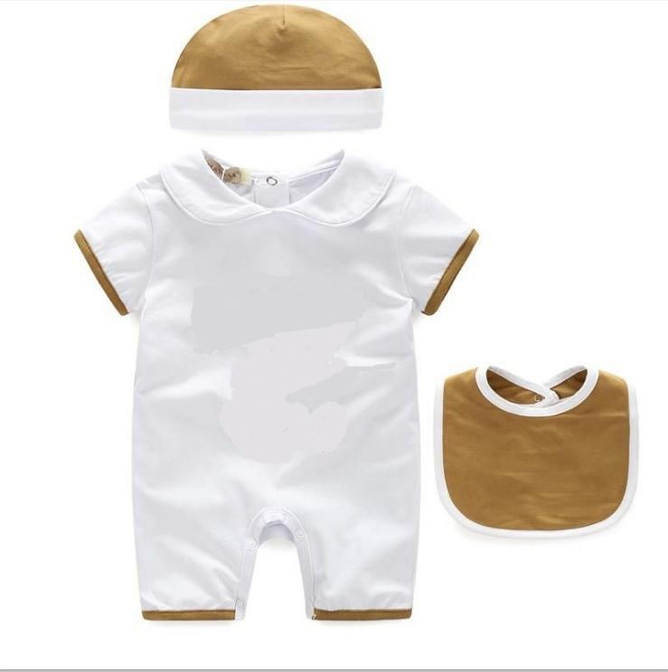 3pcs 아기 소년 소녀 rompers 유아 코튼 짧은 소매 jumpsuits 여름 유아 onesies romper + 턱받이 + 모자 아이 옷