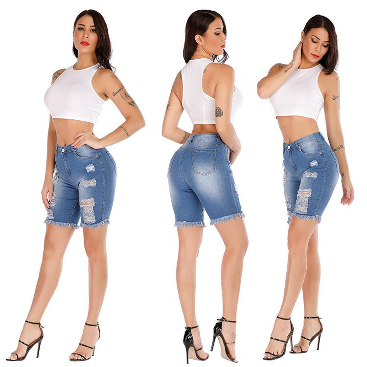 Vendita all'ingrosso Estate New Media Ladies OL Strappato Denim Shorts Ginocchio Lunghezza Vintage Streetwear Breve Jeans Pantaloni per fori