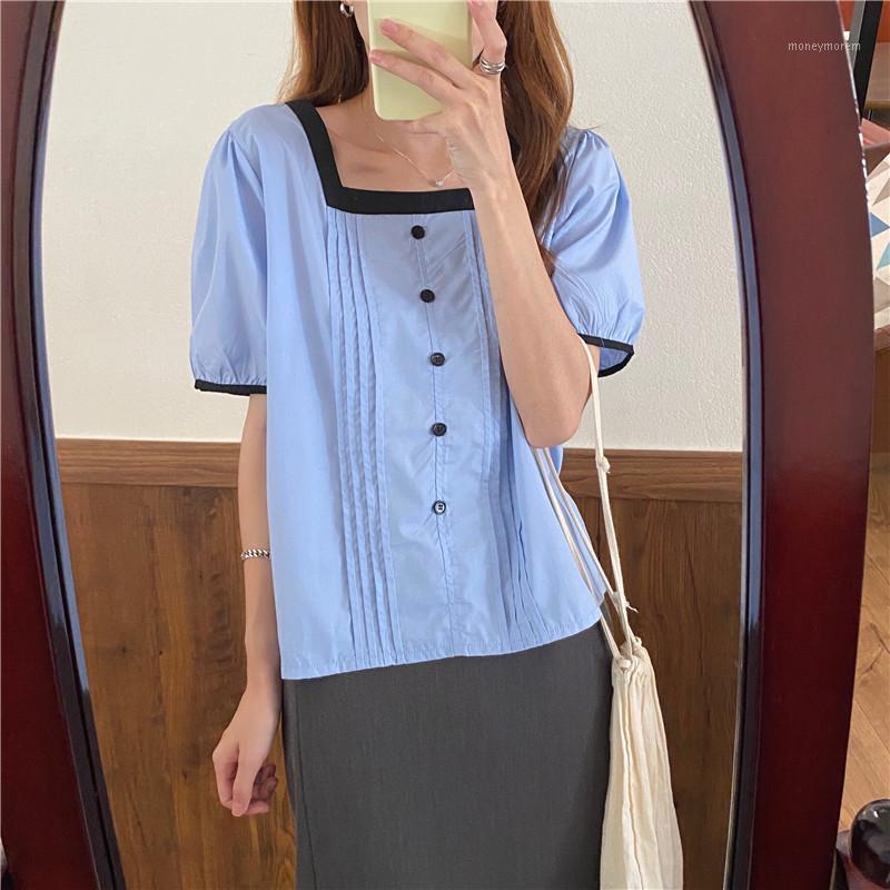 Hzirip Frauen Blusen 2020 Sommer Weibliche Hemden Square Kragen Solid Falten Casual Elegance Puff Sleeve Lady Office Mode Tops1