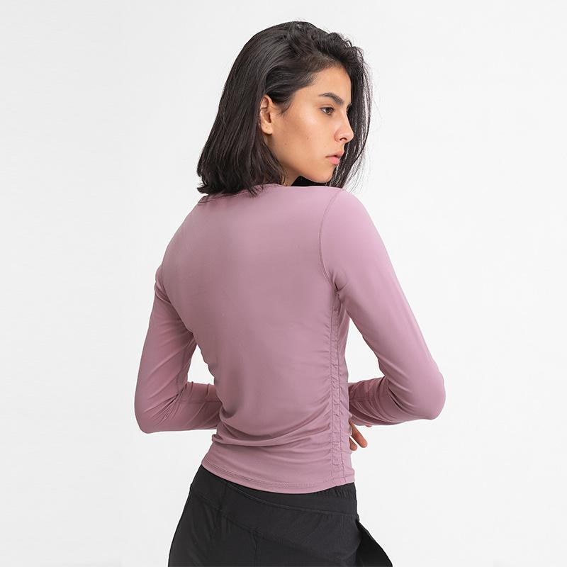 L-93 Femmes Yoga Manches longues T-shirts T-shirts Taille latérale Élastique Plis Sports Tops Tête de remise en forme Chaugeable Slim Slim Top pour le déplacement