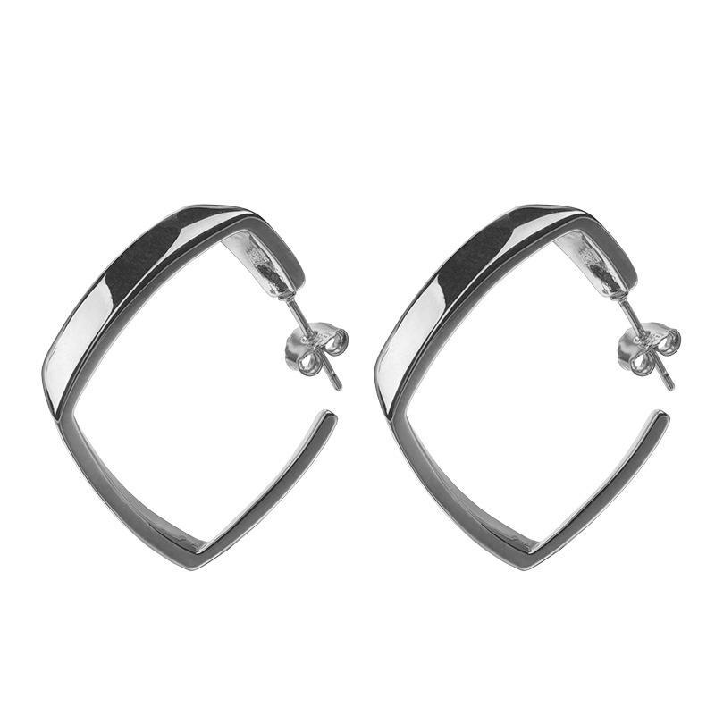 Simple 925 Pendientes de aro de plata esterlina para mujeres Party Fiesta de cumpleaños Minimalista Geométrico Pendiente Cuadrado Pendiente Mayor al por mayor