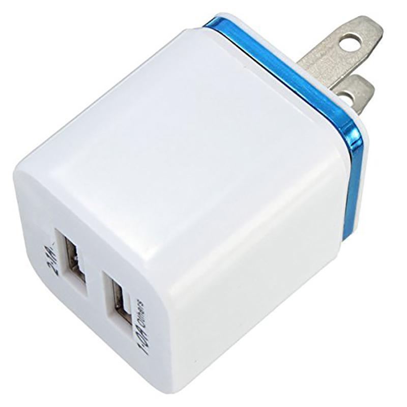 En Kaliteli 5 V 2.1 + 1A Çift USB AC Seyahat ABD Duvar Şarj Fiş Çift Şarj Galaxy HTC Akıllı Telefon Adaptörü Için