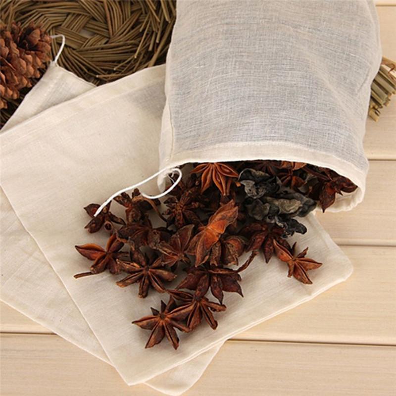 10 шт. 100% хлопок муслин тканевые сумки для домашнего хранения сумки блокировки специй сетка сетки фильтр мешочек травяных ситлов кухонный дуршлагризер 26 х 20см