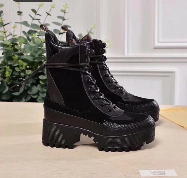 33t Son Sıcak Kadınlar Dünya Turu Çöl Boot Kadınlar Yüksek Kalite Platformu Boot Ayak Bileği Çizmeler Topuk Madalya Moda Martin Çizmeler