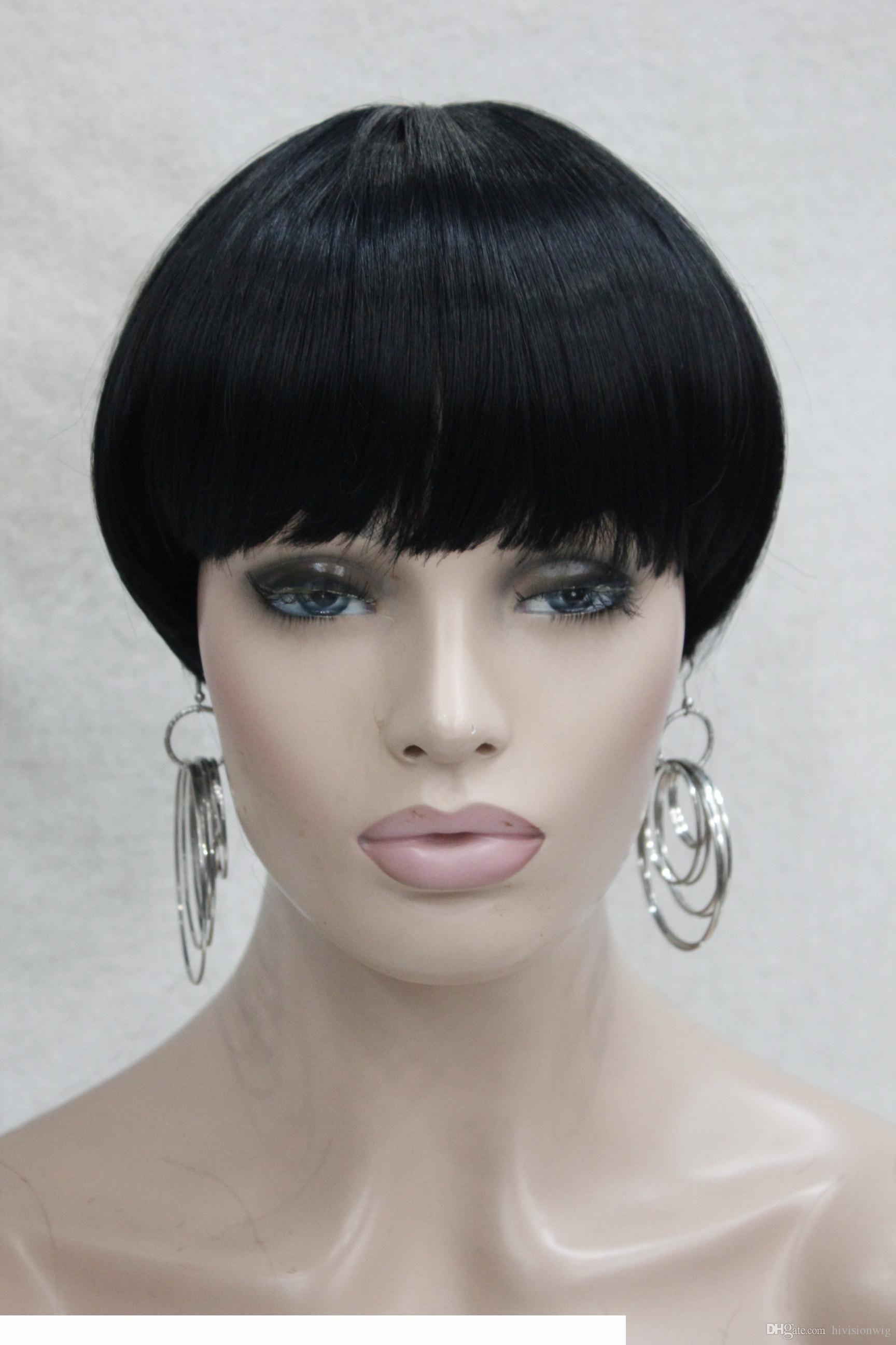 Горячая мода Jet Black Bob грибный стиль с челкой центр точка кожи верхняя короткая женщина каждый день прямой парик
