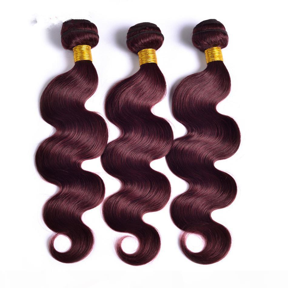 Elibess Hair-Factory Supply Borgoña Brasileño Tejido de tejido Paquetes de la onda del cuerpo paquetes de cabello humano 60g Piece 99J Color rojo Extensiones de cabello