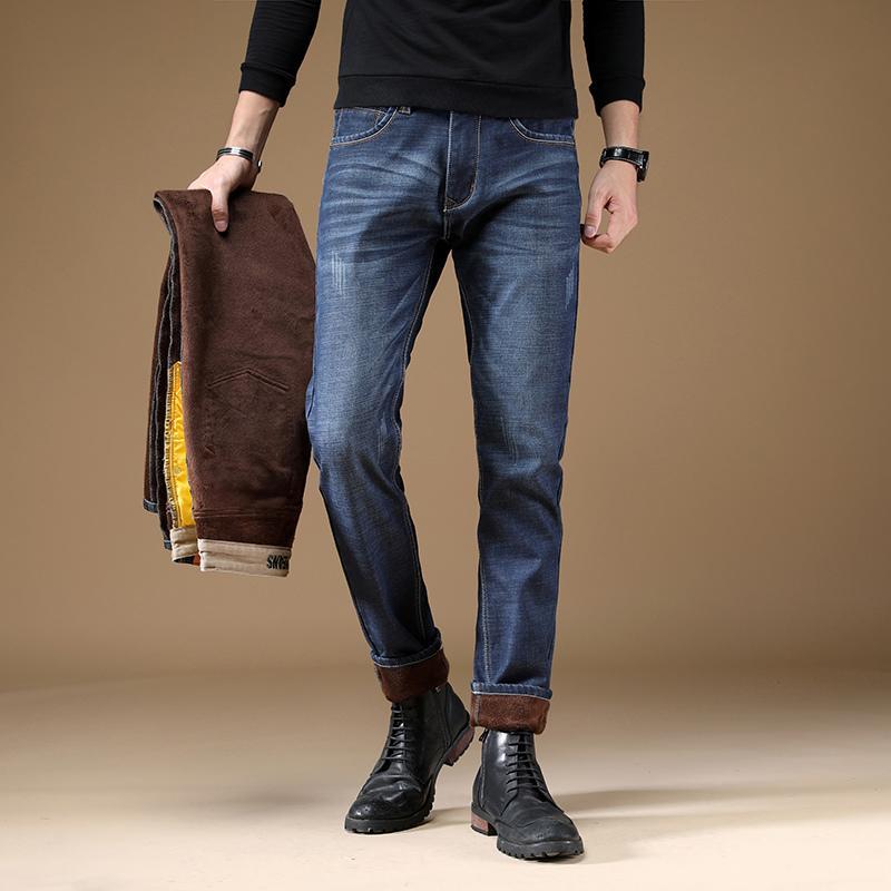 Mode Winter gerade Fit Baumwolle Samt Casual Business Hosen Schwarz Blau Klassische dicke warme Jeans für Männer