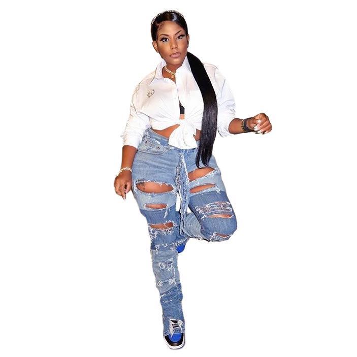 Women Hole Panelled Jeans Color Matching High Waist Pencil Pants Ladies Slim Fit Jeans