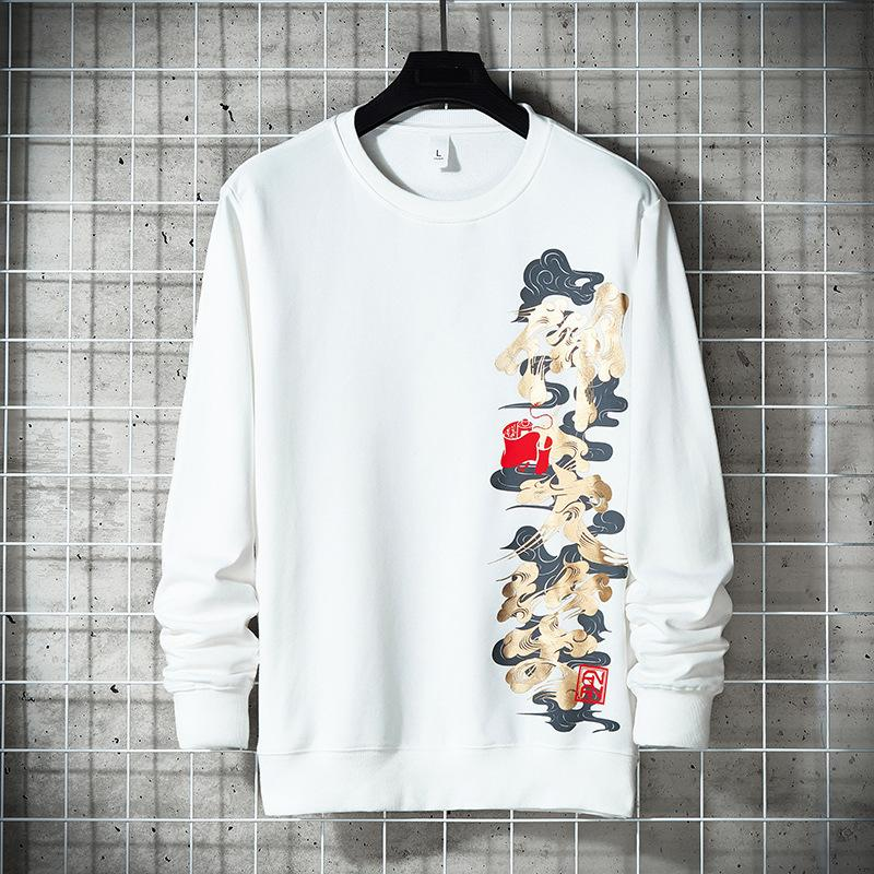 Guochao sweater men's autumn crew neck 2020 new China fashion brand long sleeve ins trendy loose and versatile fried Street T-shirt
