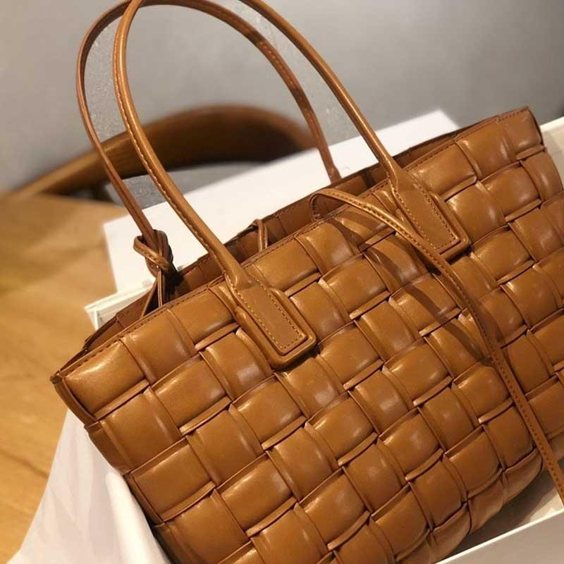 Tote gewebt Handtasche Crossbody Quality Bag echte Einkaufstasche Weiche Frauen Echtleder Hohe Handtaschen Schulter TVUIG