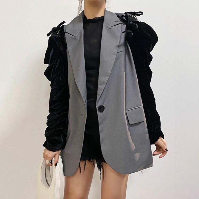 Женские костюмы Blazers Beatwork повседневная Blazer для женщин, зубчатые с длинным рукавом на шнуровке бабочки большой размер свободный 2021 осенний стиль моды K91