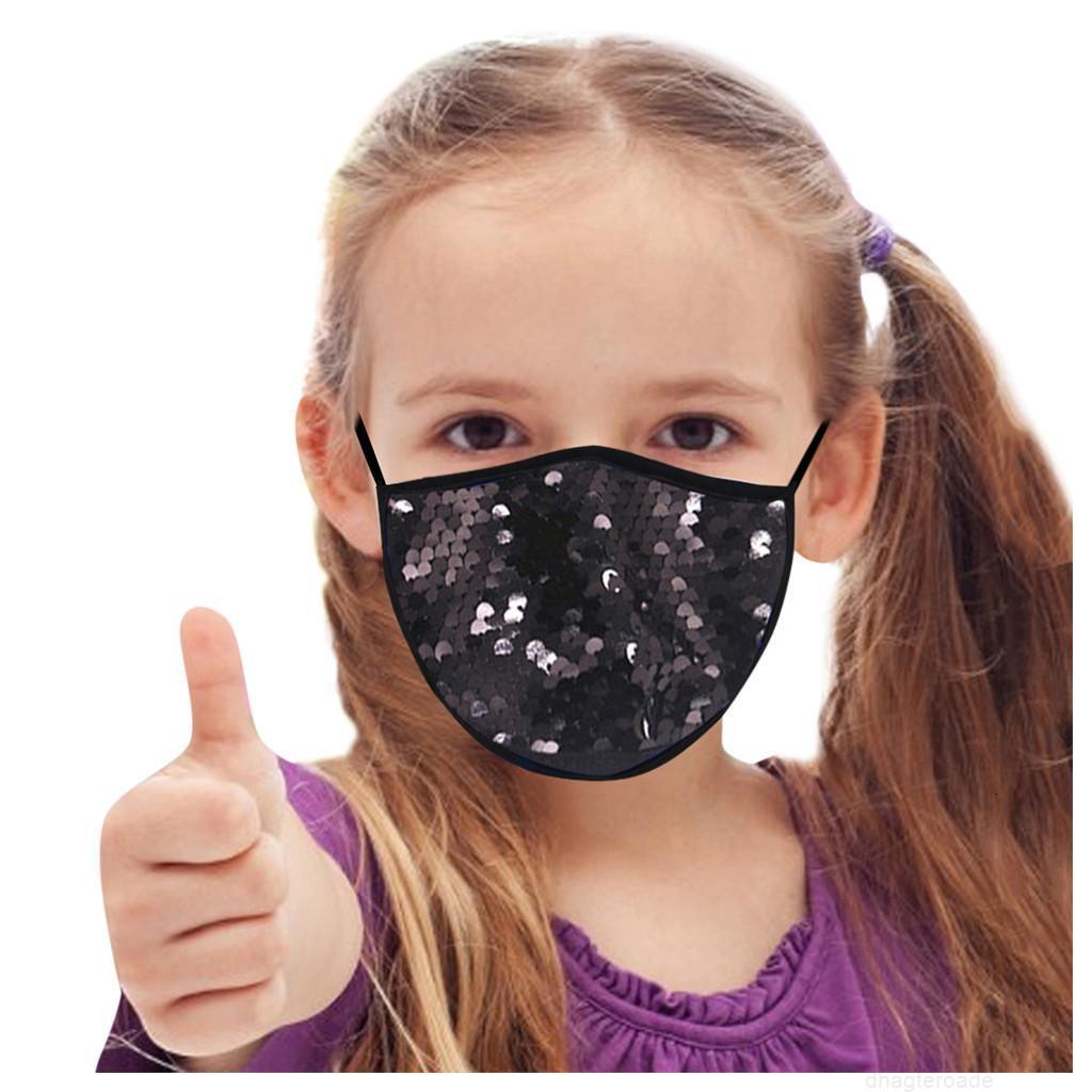 Moda Bambini Bambini Facemask Faccia Faccia Paillettes Maschera per la bocca lavabile per la copertura facciale Boccasancio Bling Bling Bliny Masque Decorazione wmtogc