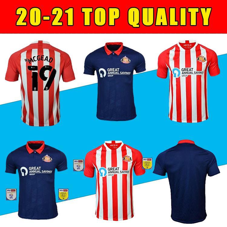 Novo Top Tailândia 20 21 Sunderland Home Vermelho Maguire Futebol Jersey 2020 2021 Power Watmore McNulty McGeady Grigbitter Leadbitter Camisas de futebol