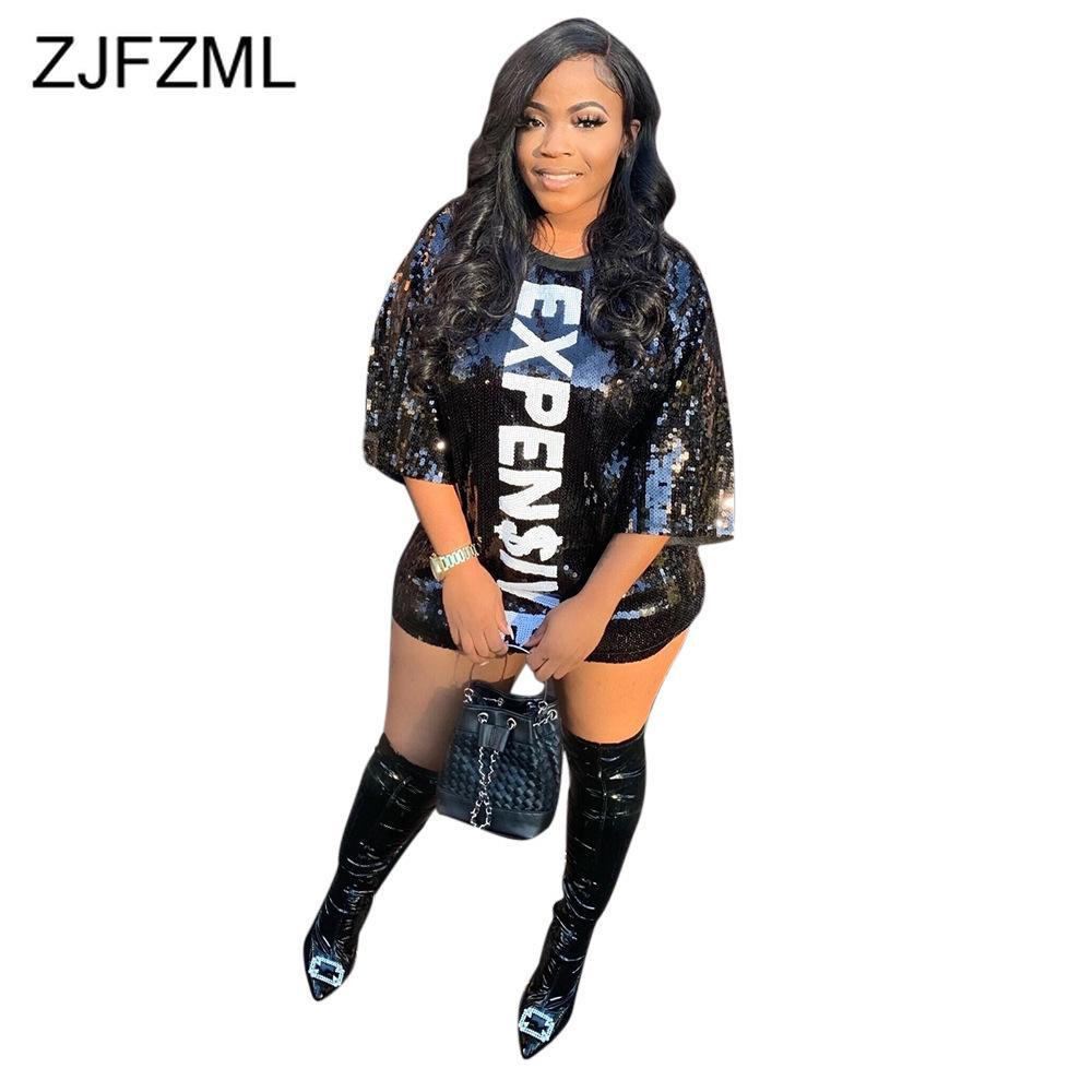 Sparkly Payetli Patchwork Seksi Bandaj Elbiseler Kadın Pahalı Mektup Baskı Parti Kulübü Elbise Hip Hop Katı Artı Boyutu Vestidos Y0118