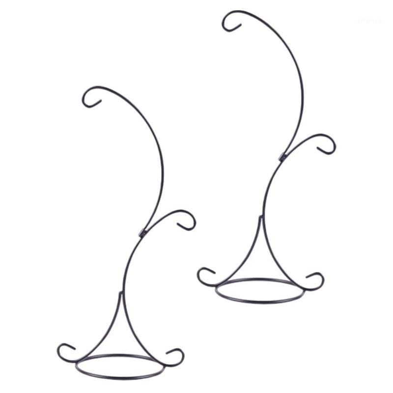 Çerçeveler 2 adet Çift Kanca Çiçek Tutucu Zemin Raf Saksı Taban Kapalı Standı Dekorasyon Için