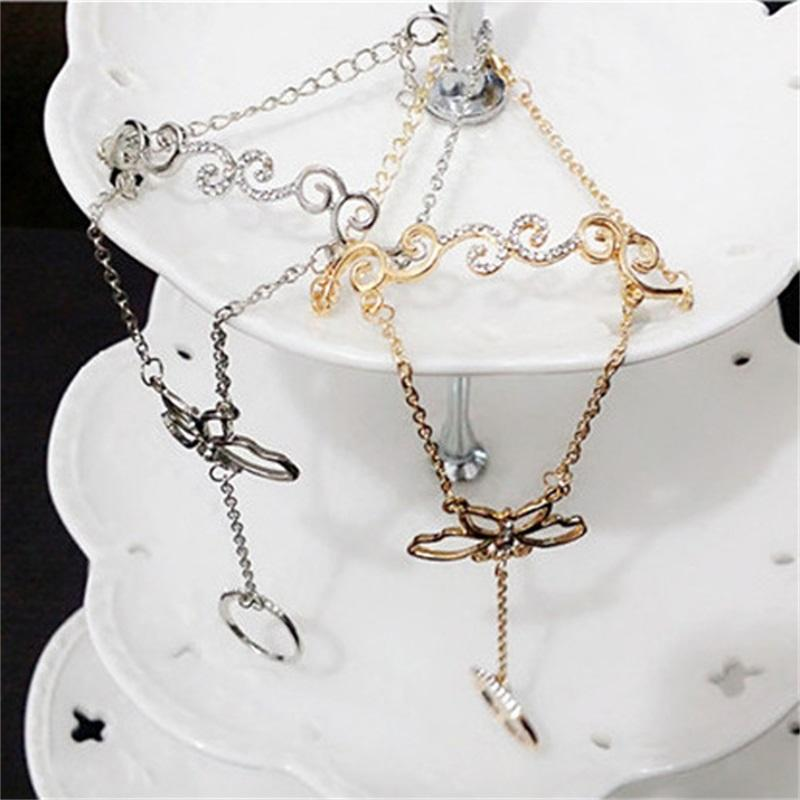 Butterfly Diamante Artificial Incrustación Pulsera Moda Aleación Mano Joyería Mujer Corea Cadena Chapada en oro Accesorios 3ZX P2
