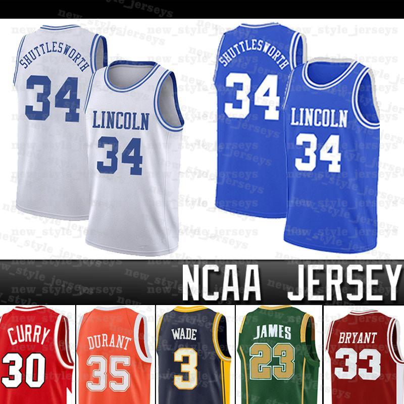 NCAAS Huttle Sworth # 34 Lincoln Wade James Durant 23 Lebron Iverson 3 Allen AntetokounMpo College Basket Blay Jersey
