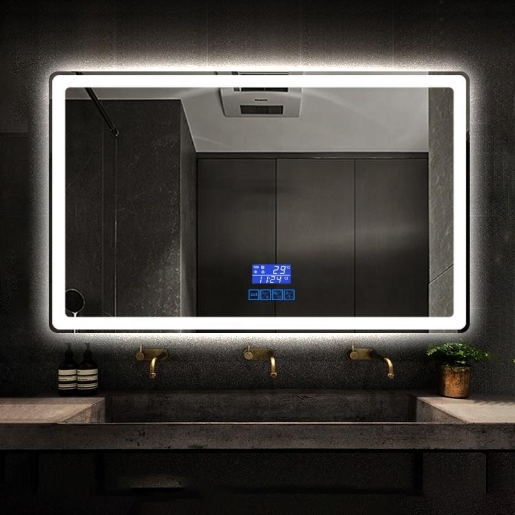 Otel Duvara Monte Işıklı Akıllı LED Işık Banyo Banyo Banyo Aynası Dijital Saat Dokumanlı