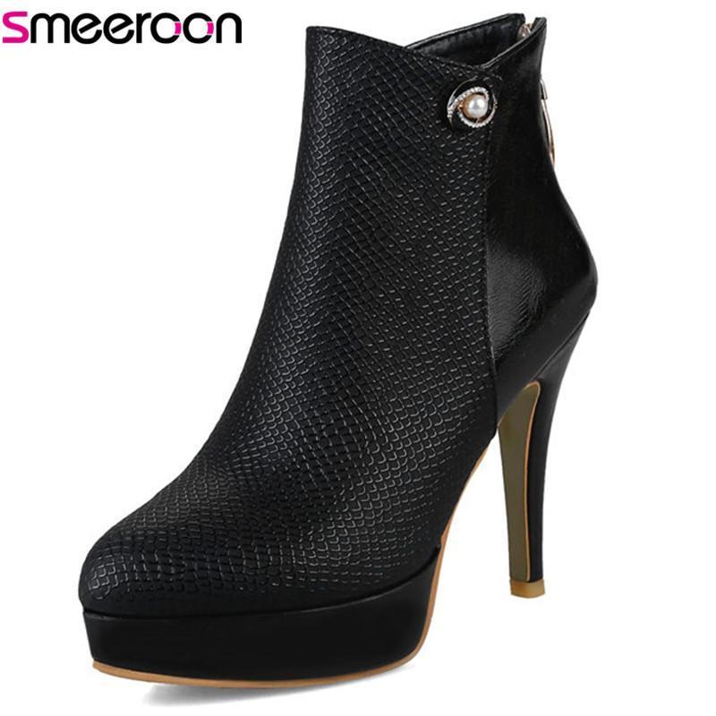 BOOTS SMEROON 2021 Moda Super High High Tacones Redondos Toe Mujeres Zapatillas Zapatillas Zapatos Tobillo Otoño Invierno