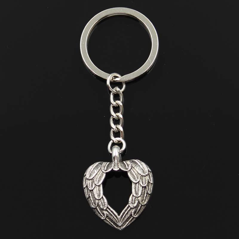 Moda cuore angelo ali 29x24mm pendente 30mm tasto anello porta metallica catena in argento color uomo auto regalo souvenir keychain Dropshipping