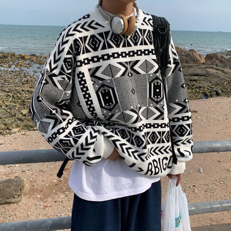 2020 Otoño e invierno Nuevos jóvenes Popular Retro Retro Suéter impreso Moda Casual Cuello redondo Jersey Negro / Blanco M-XL