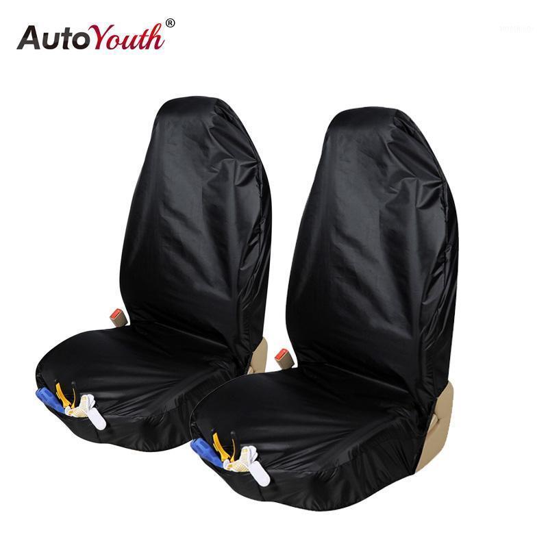 Cubierta de asiento de automóvil a prueba de agua AutoYouth 2pcs Protector de asiento delantero con bolsa de organizador Accesorio interior universal1