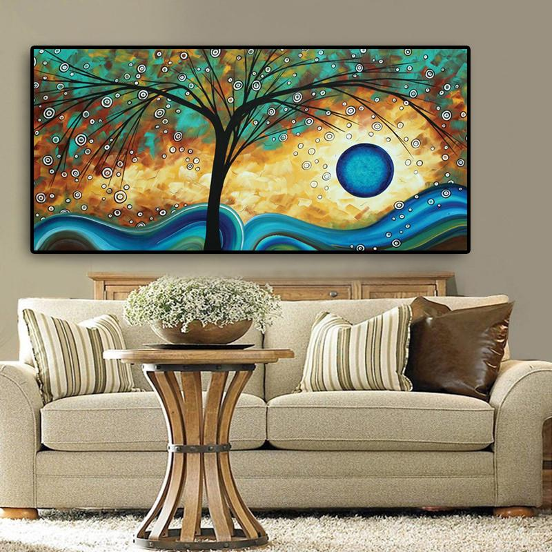 Abstract Tree Sunset Wave Pittura a olio su tela poster e stampe Scandinavian Wall Art Picture per soggiorno cuadros Decor Q1123