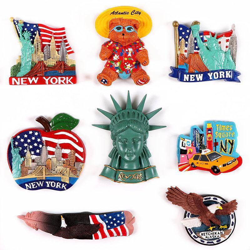 Amerikan abd mıknatıslar alaska manyetik özgürlük dünya heykeli hatıra York Yeni kartal 3d buzdolabı hatıra buzdolabı wmtjmb ajxsp