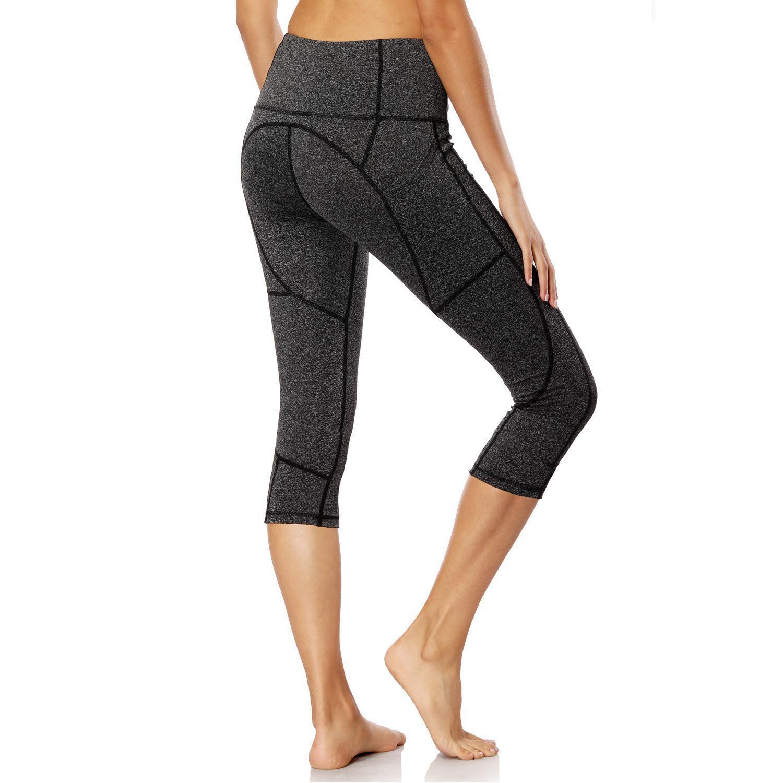 ممارسة اللياقة البدنية جيوب مرنة عالية الخصر على كلا الجانبين سبعة أو ثمانية سروال اليوغا الجري التجفيف السريع KG-125