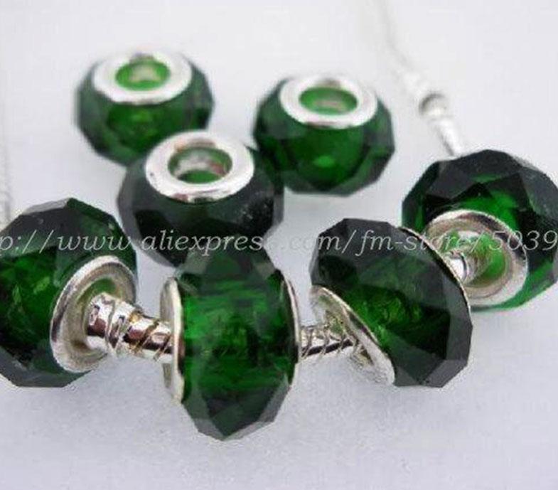 Perle di best-seller, eleganti e cristalline perline di vetro verde scuro perline di charms con perle di grandi fori, 7 * 12,8 mm