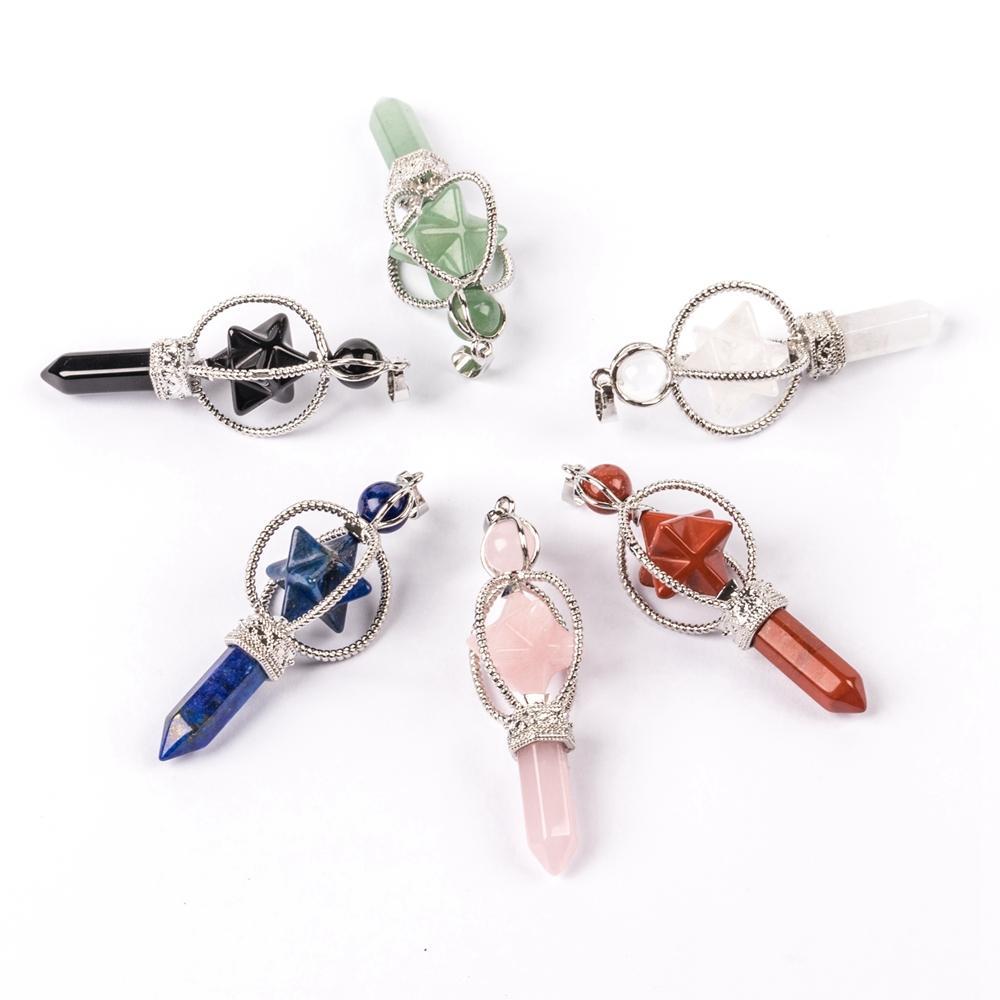 Drehen merkaba kristall hexagonale säule anhänger halskette magician göttination requisiten naturstein reiki heilung amulett mode charme hängen zubehör