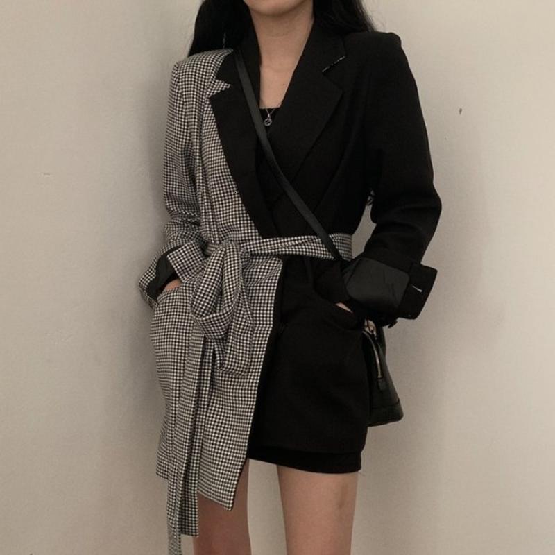 Kadın Takım Elbise Blazers Moda Gelgit Sonbahar Ve Kış Ekose Dikiş Düzensiz Kravat Uzun Yaka Takım Elbise Ceket Kadın PB735