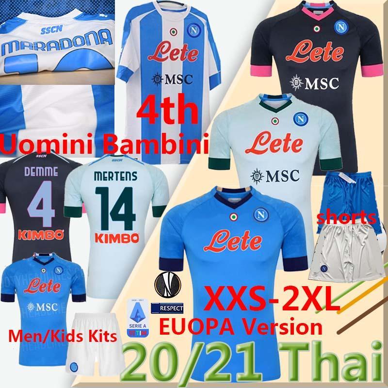 20 21 Napoli Fußball Viertel Jerseys Neapel Calcio 4th Saluto Maradona Ossimhen Insignente Merten H.Lozano Maillots Männer Kinder Kits Football Hemden
