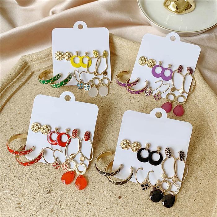 XMY New Girl Women Bohemian Fashion Jewelry Geometric Set Tassel Painting Oil Rhinestone Stud Earrings Sets