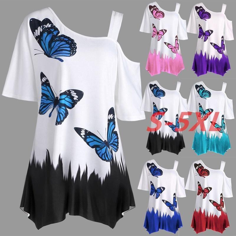 La stampa della farfalla delle donne Plus Size T-shirt T-shirt T-shirt da estate della maglietta del cotone della maglietta delle donne della maglietta delle donne della maglietta della maglietta del raccolto della maglietta della maglietta della maglietta del raccolto