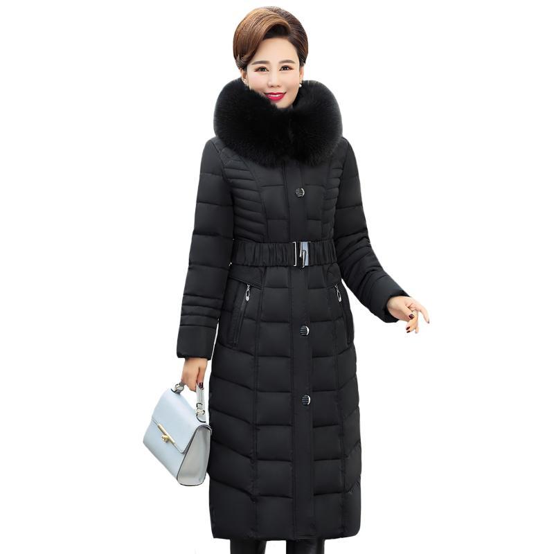 X-Long Winter Jacket Women Hooded Plus Size 5XL Winter Coat Fur Collar Thicken Warm Down Jacket Female Outerwear Long Parka 210203