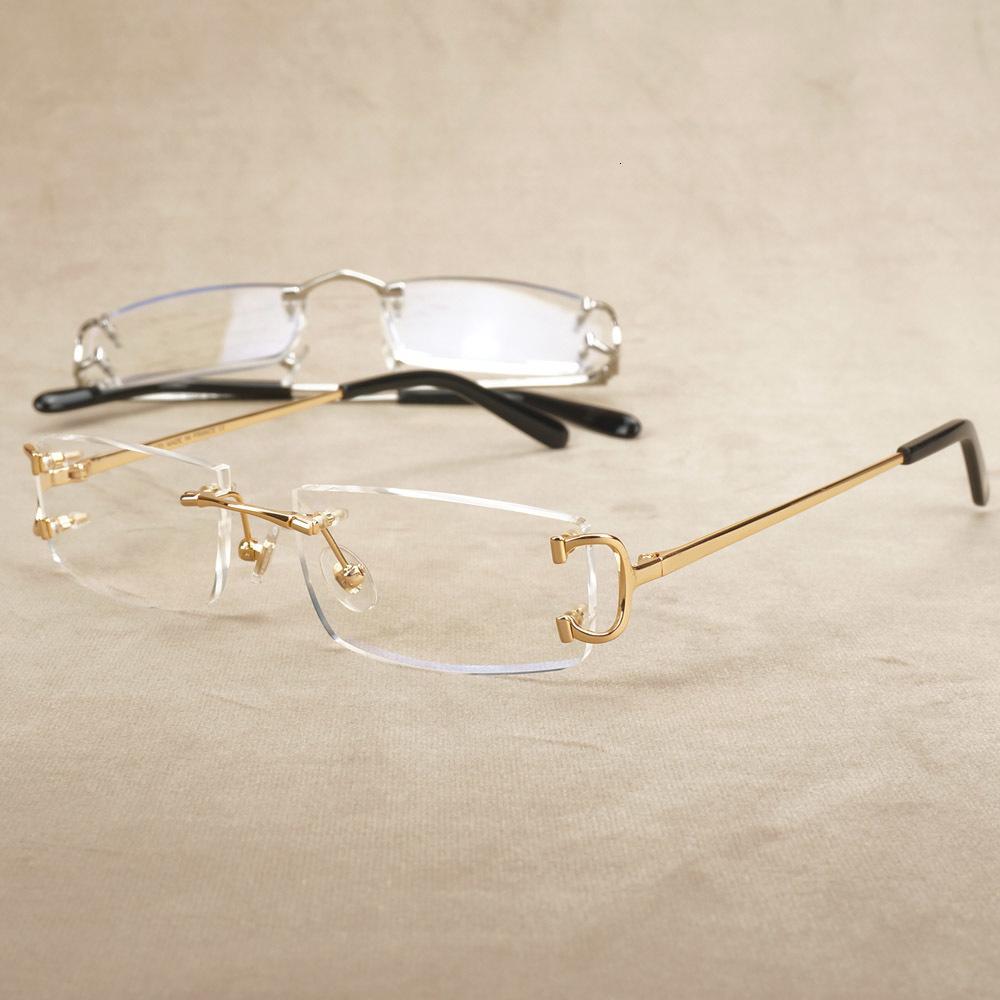 2021 Neue Randlose optische Rahmen Rechteck Carter Eye Brille Brand Designer Klare Brillen Oval Transparent Brille Rahmen EO7D