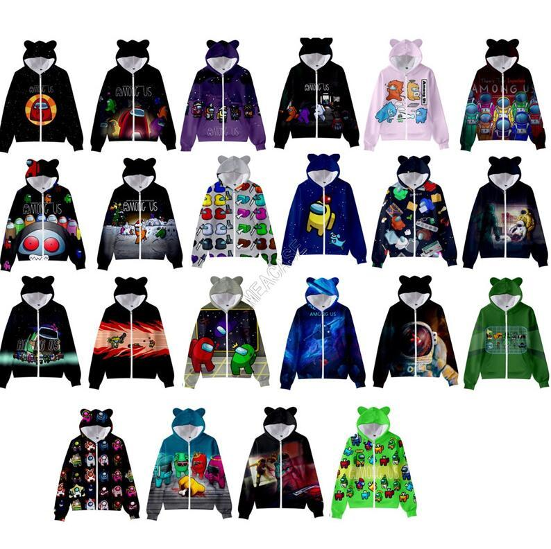 Gioco tra noi Cappotto con cappuccio Cappotto Cartoon Cat Erecchie con cappuccio Giacca con cappuccio Cappotti Zipper Felpe Juniors Boy Girls Hip Hop Casual Sweater Tops New D120305