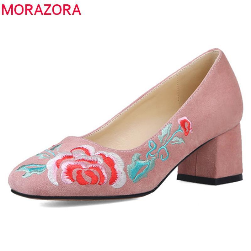 Платье Обувь MORAZORA 2021 Женские Насосы Стая Вышивка Весна Летние Квадратные каблуки Элегантная вечеринка Женщина-одиночка