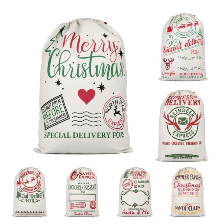 أحدث 64x48 سم الحجم، 14 أنماط، حقيبة هدايا عيد الميلاد، زينة عيد الميلاد، حقيبة الحلوى، الخيش الرباط الجيب الرباط، شحن مجاني