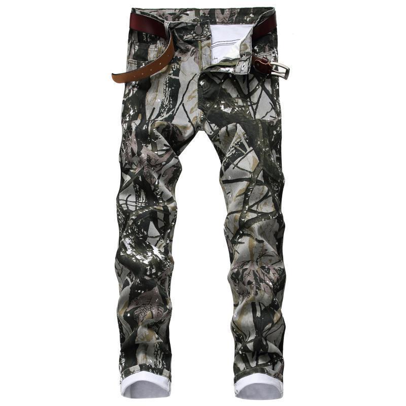Stampa nuovi giovani uomini 2020 tuta jeans casual pantaloni autunno vaqueros morbido moda uomo denim hombre ufrmg