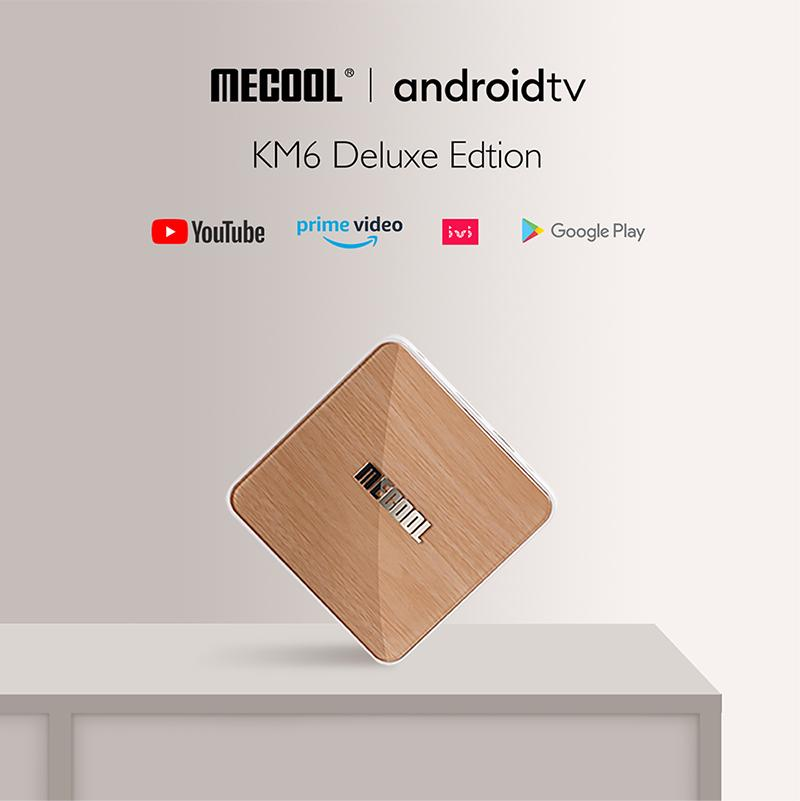 Mecool KM6 Deluxe TV Boîte AndroidTV 10.0 AMLOGIC S905X4 4GB 64GB 2.4G / 5G WIFI 6 WIDVINE L1 Google Play Top Video Set Top Boîte