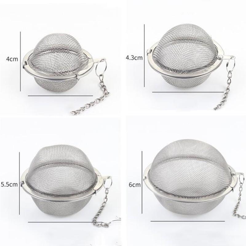 Pote de té de acero inoxidable Infusor esfera de malla de té de malla colador de pelaje de pelaje Bola 4 cm 4.3cm 5cm AHC4031