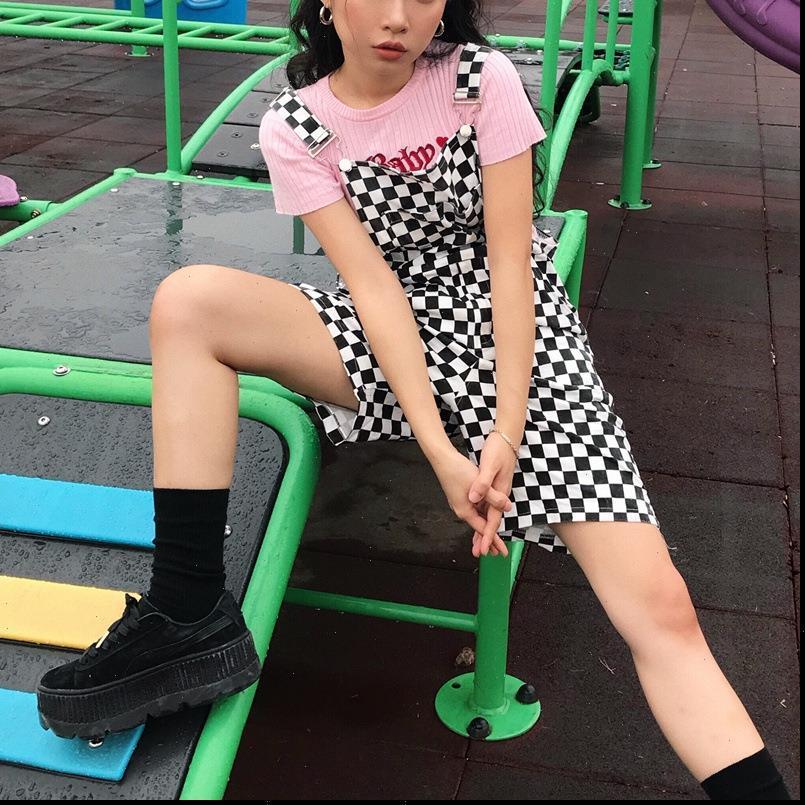 Dama Tahtası Tulum Şort Kadınlar Casual Streetwear Harajuku Romper Tulum Backless Kayış Damalı Siyah Beyaz Tulum Drop Shipping