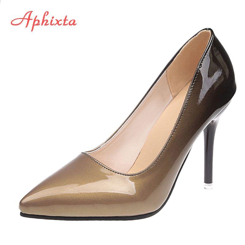 Aphixta 10cm stiletto Heels Pumps Women Shoes Pointed Toe Patent Leather Wedding Party Dress Footwear Shoes Woman Plus Size 48 C0128