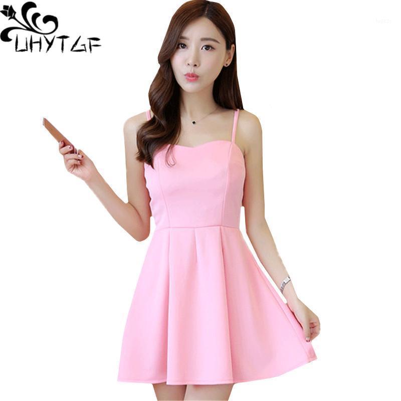 Uhytgf Сречка на плече сексуальное платье мода богемное весеннее летнее платье без рукавов милая девушка элегантные вечерние вечеринки платья 7171